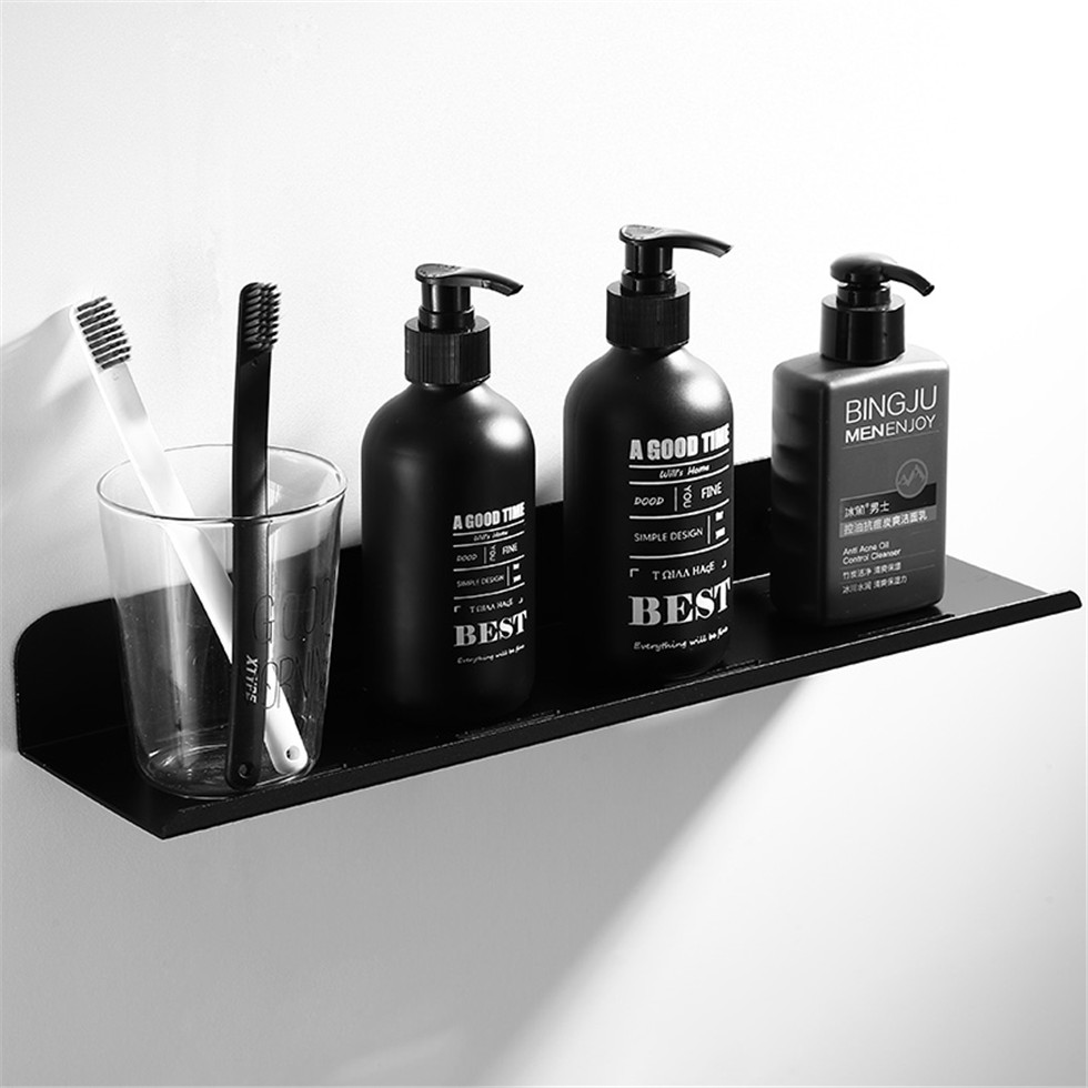 Black Shower Caddy Floating Shelf Wall Mounted Bathroom Shelves Space Aluminum Bath Rack Shampoo Accessories Storage