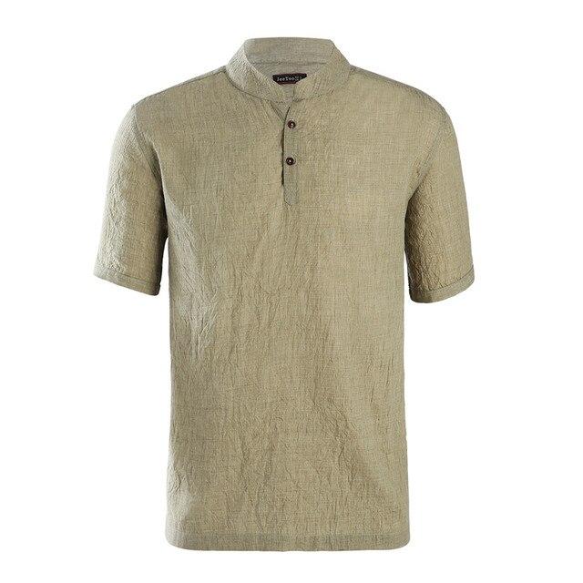 21d4fb2b67d1 Jeetoo Brand Solid Short Sleeve Cotton Linen Mens Clothes 2018 Mandarin  Collar Casual Men Shirts Summer Camisa Macculina New