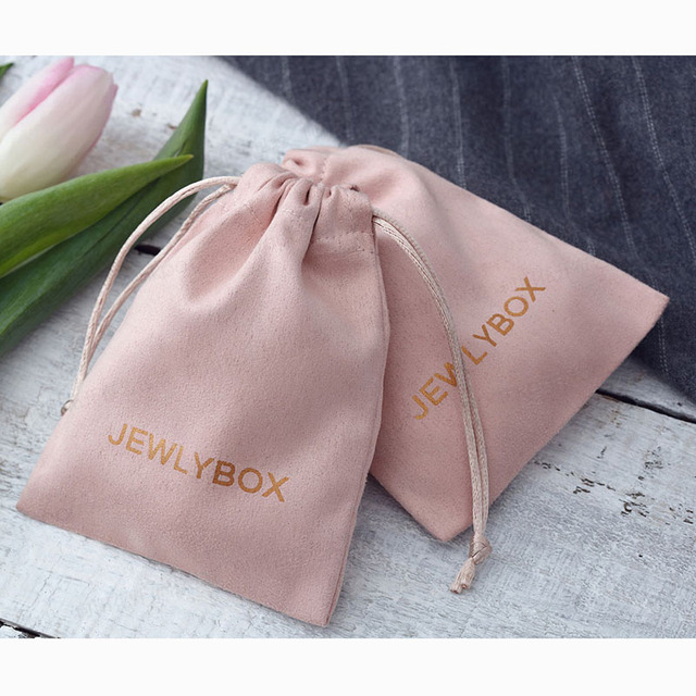 100 Gepersonaliseerde Logo Print Koord Tassen Custom Sieraden Verpakking Pouches Chic Wedding Favor Tassen Roze Flanel Cosmetische Zakken