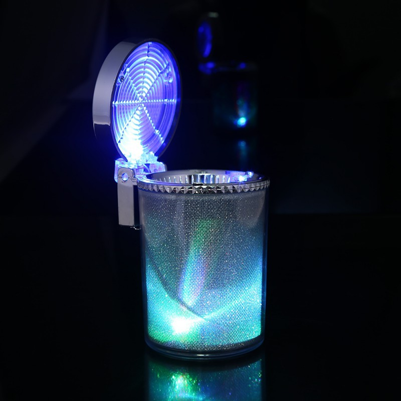 Car Ashtray With LED Light Cigarette Cigar Ash Tray Container Smoke Ash Cylinder Smoke Cup Holder Storage Cup New