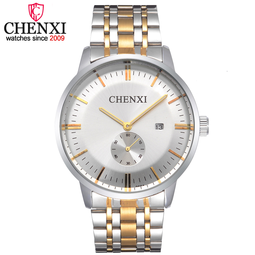 CHENXI Brand Gold&Silver Full Stainless Steel Quartz Men Watch Auto Date Display Fashion Business Waterproof Male Wristwatch