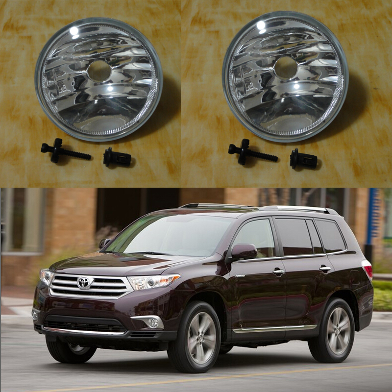 ФОТО 1Pair Front Bumper Fog Lights Driving Lamp Without Bulbs for Toyota Highlander 2011-2013