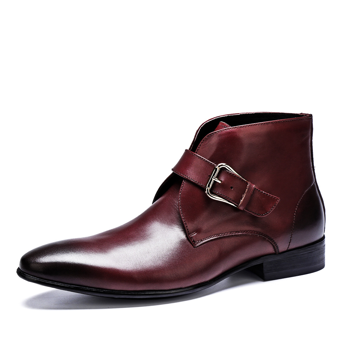 Boots Homens Dedo Inverno Luxo Com Projeto Moda Curtas marrom Apontado Da Homem Plana Botas Couro Chelsea Ankle Preto Genuíno Dos Marca De Fivela Pulseira ORwqrY45w