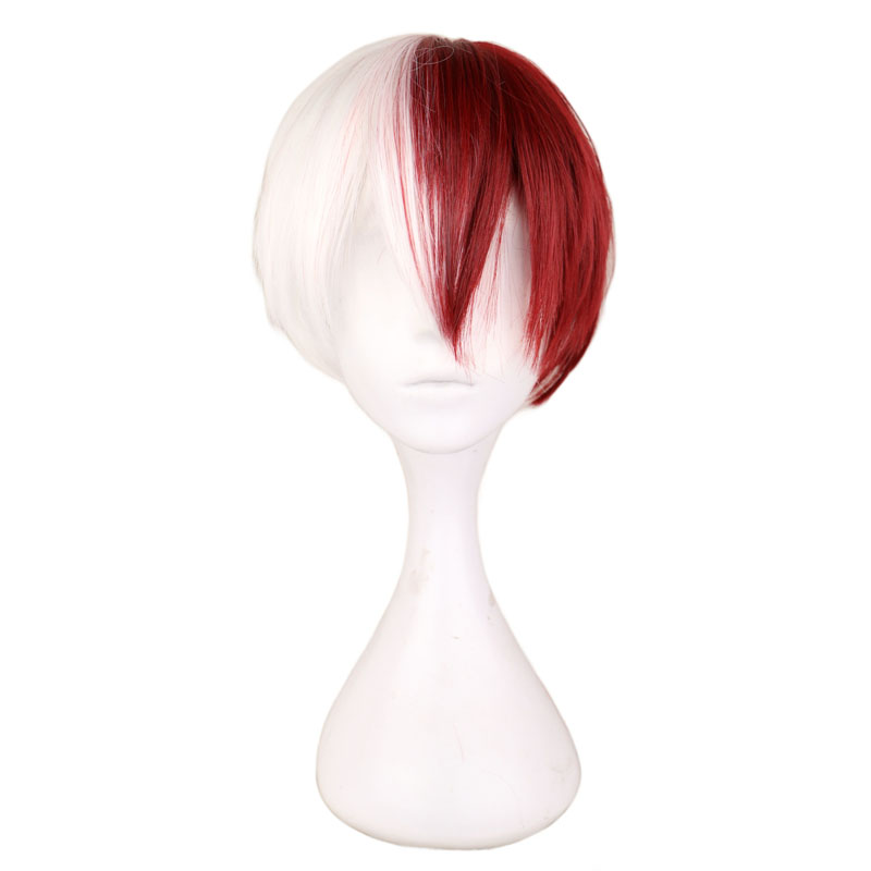 QQXCAIW Men Short Costume Cosplay Wig Boys Half White Half Red 30 Cm Heat Resistant Synthetic Hair Wigs