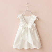 2019 Summer Cute Style Girl Dresses Solid White Childrens Clothing For Girls Vestido Infant Clothes