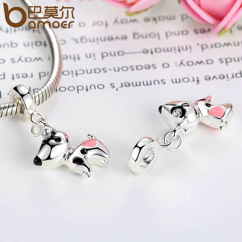 BAMOER srebrny kolor różowe serce pies zwierząt zawieszki Charms Fit bransoletki naszyjniki kobiety śliczne koraliki i tworzenia biżuterii PA5328