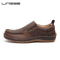 LINGGE גברים אופנה נעליים מזדמנים עור נעלי נוחות לופרס גברים להחליק על מוקסינים עור #7287