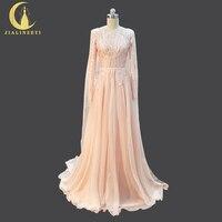 JIALINZEYI Bất Mẫu Dài Tay Áo Hồng ren Mở Lại Evening Gowns Đảng Custom Made robe De soiree abendkleider Dresses