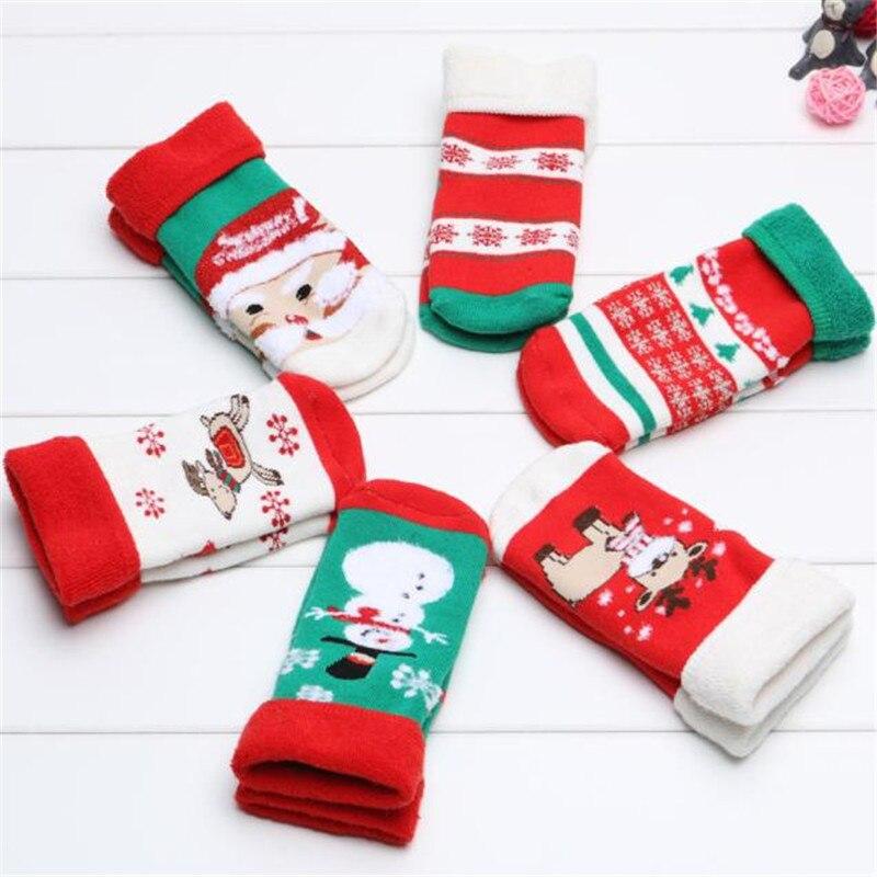 2017 Christmas Socks For Kids Boys Baby Winter Thiken Girls Socks Cotton Cute Boy Girl Baby Socks Fashion Soft Floor Sock 0-5Y