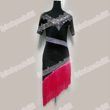 BLACK VELVET FRINGE. Latin Salsa Tango Rumba Cha Cha Costumes Modern Exercise BallroomDRESS,DANCE DRESS, LATIN DANCE WEAR