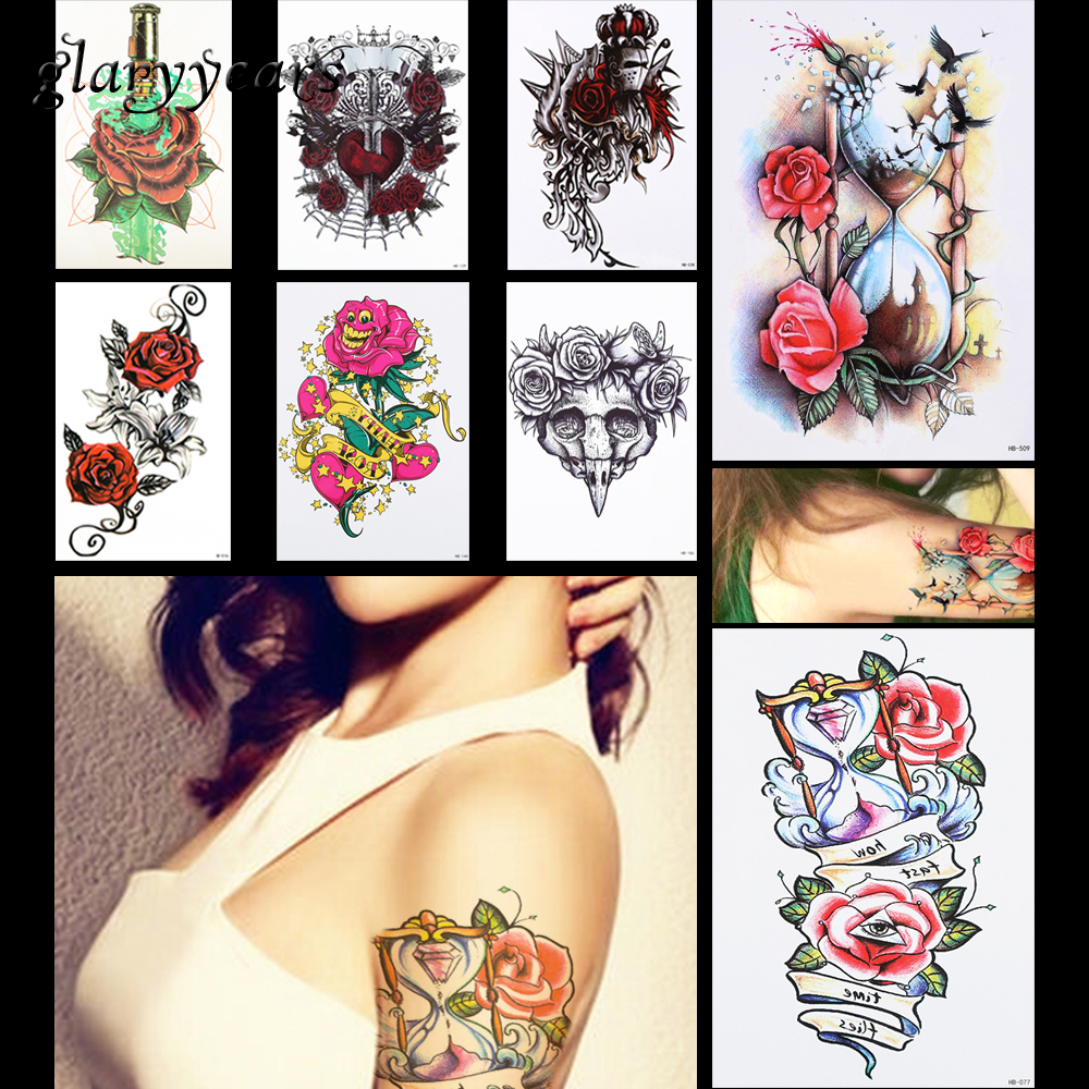 8 Pieces Rose Flower Pattern Design Tattoo Sticker Sand Clock Heart Temporary Leg Body Art Tattoo Sticker Sexy DIY Product HB#40