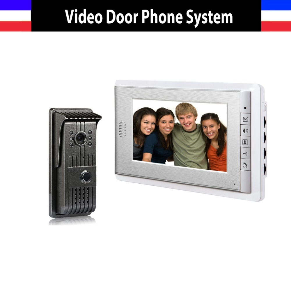 Hot Sale video door phone intercom system 7 Inch Color Lcd Monitor Video Intercom night vision Alloy waterproof Door Camera free shipping 10pcs 100% new lmv934ma