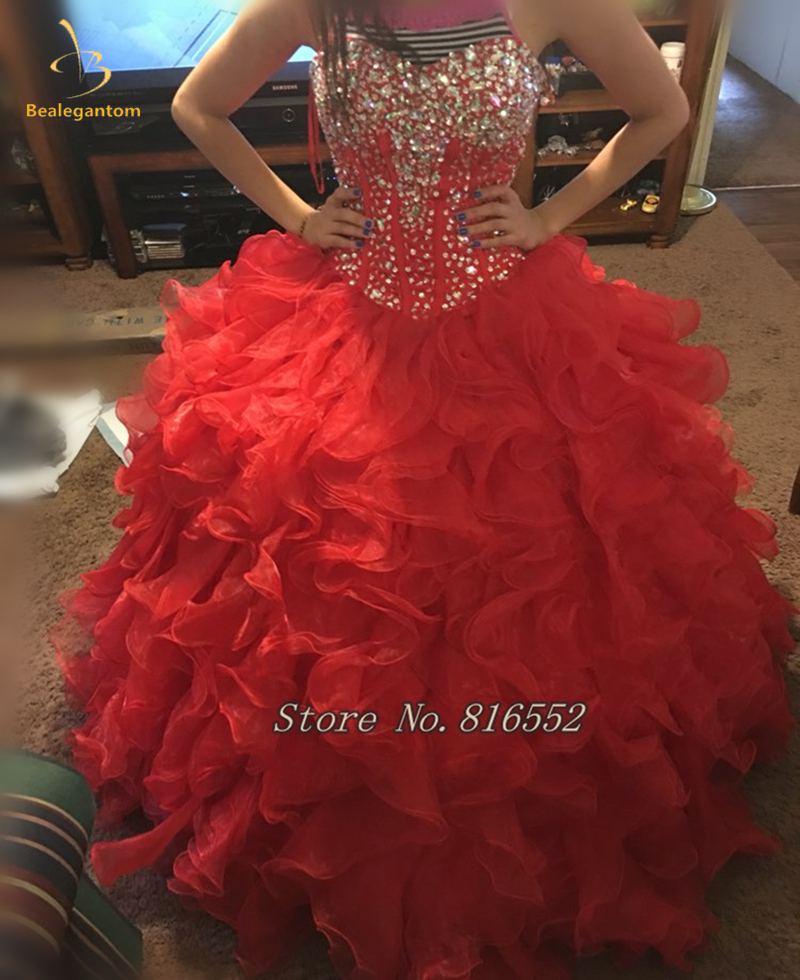 Bealegantom 2019 Red Real Photo Ball Gown Beaded Quinceanera Dress Lace Up For 15 Years Vestidos De Anos QA1393