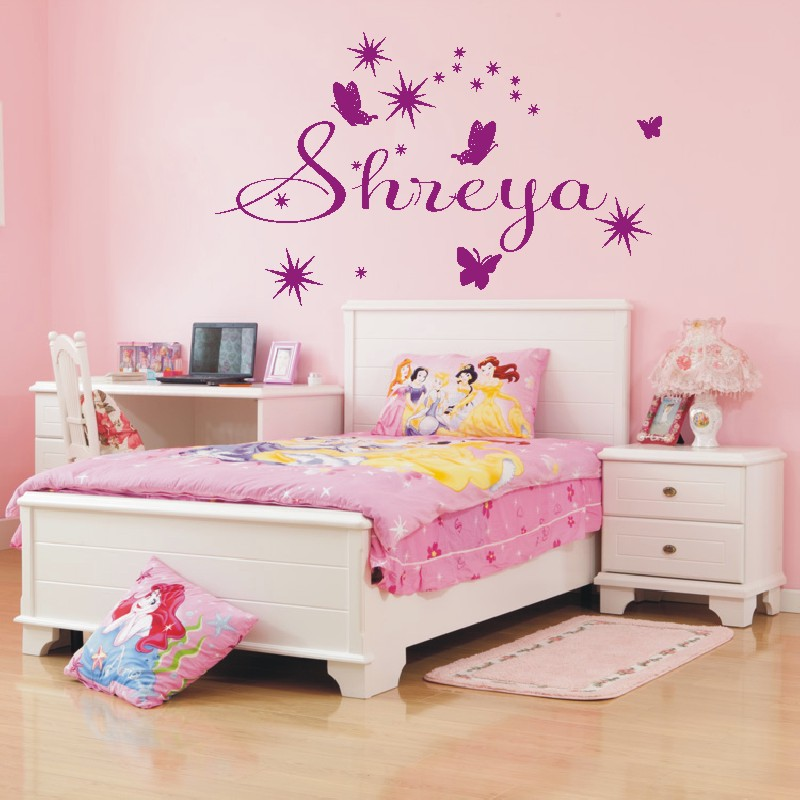 ... Personalised Butterfly And Star/ Name Wall Sticker Wall Art Decal Any  Name Girls Bedroom ...