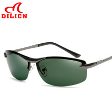 DILICN Dark Green Lens Night Driving Sunglasses Men Polarized Rimless Sun Glasses Driver Metal Frame Oculos Polarizado Masculino
