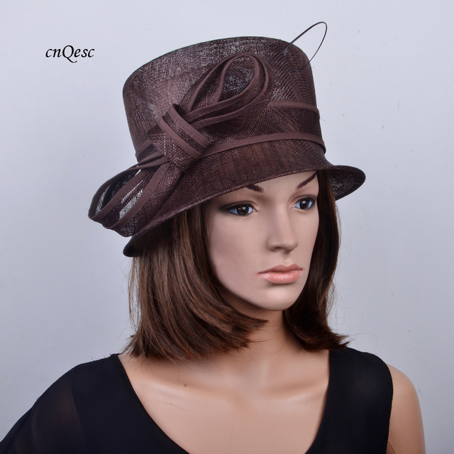 Wholesale NEW colour Brown Sinamay Hat Fascinator with ostrich spine for Kentucky  Derby 2029f6a27c32
