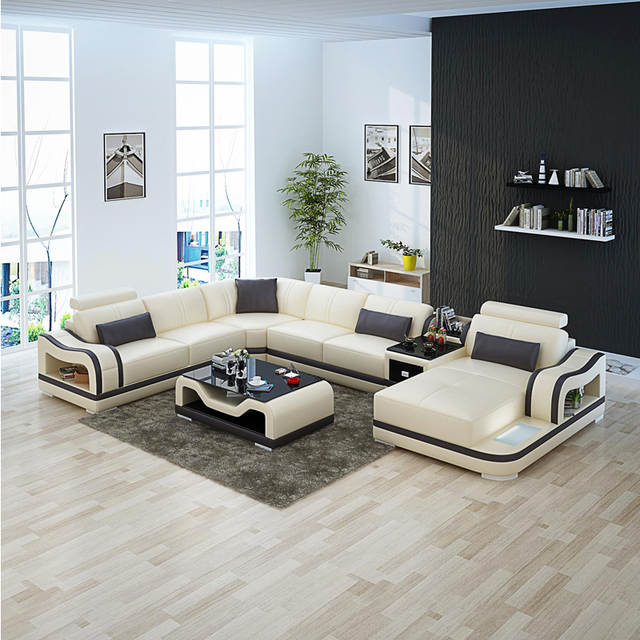 GuangZhou Fair contemporary leather sectional sofa