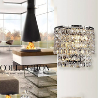 LED Foyer Living Room Bedside Glass Crystal Wall Lamp Classic Crystal Chandelier Wall Light Gold Crystalline Wall Sconce Lamp|Wall Lamps|Lights & Lighting -