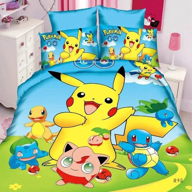 Lenzuola Letto Singolo Bambino.Hot Vendita Pikachu Cartoon Set Di Biancheria Da Letto Per Bambini