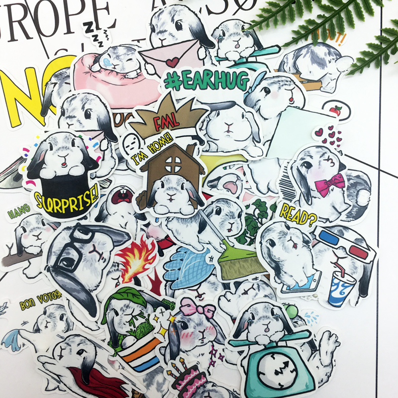 44pcs Hand Drawing Cute Rabbit Sticker Diary Notebook Planner Scrapbooking  Thin Paper Sticker