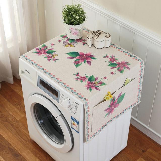 Ретро Европейский цветочный принт стиральная машина пылезащитный чехол для холодильника с карманом для хранения льняной ткани ремесло 1 шт./лот FC119 - Цвет: 4