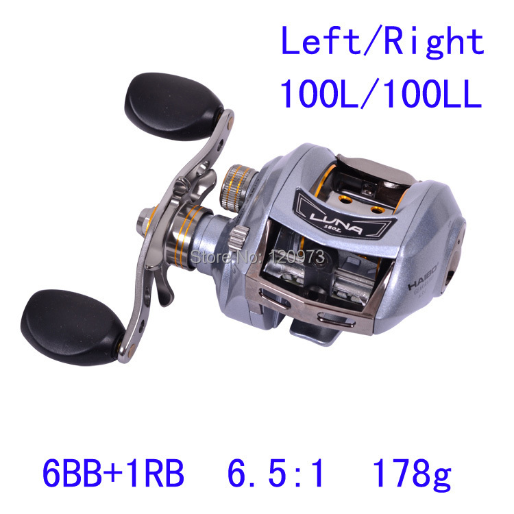 Haibo 7BB 6.5:1 178g LUNA100L LUNA100LL Bait Casting Lure Fishing Reel Left/Right Hand Bait Cast Reels Metal Frame Top Quality