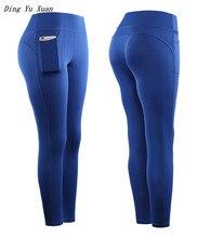 Womens High Waist Leggings Women Skinny Fitness Leggins Mujer Ankle Length Black Blue Red Workout Pants Pocket Lycra Legging