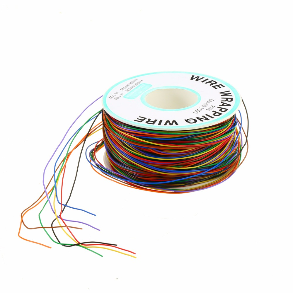 30 AWG Wrapping Wire 0.25mm Tin Plated Copper 8-Colored Wire Wrap Insulation Test Cable For Motherboard LCD Display 1pcs new wire wrap strip unwrap tool wsu 30m awg 30 prototyping wrapping