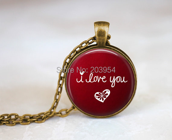 New Steampunk movie red i love you Necklace 1pcs/lot bronze or steel Glass Pendant jewelry chain 2017 mens vintage round glass image
