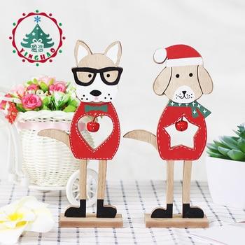 2019 Frohe Weihnachten Holz Hund Ornamente Wohnzimmer Wandbehang Zubehör  Für Heim Tabelle Desktop Stehen Decor Santa Glocken Hund Geschenke