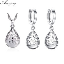 ANENJERY 925 ayar gümüş sıcak satış takı setleri aytaşı Opal gözyaşı Totem küpe kolye setleri kadınlar için S-N83 S-E321