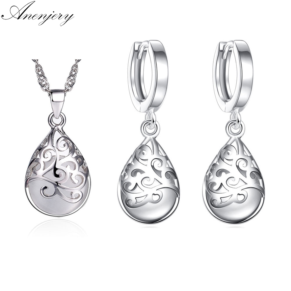 Anenjery Hot Sale 925 Sterling Silver Jewelry Sets Moonstone Opal Tears Totem Earrings Necklace Sets For Women S-N83 S-E321 hot sale special shape pendant women s necklace