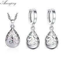 0c51b408e70e Anenjery Venta caliente 925 de la joyería de la plata esterlina de la  piedra de lágrimas tótem pendientes conjuntos de collar pa.
