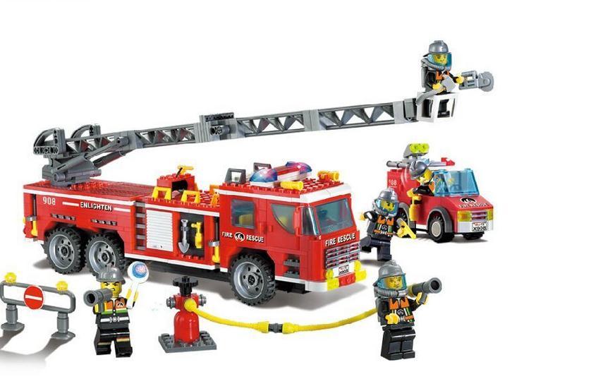 Enlighten 908 Classic City Fire Heavy Rescue Truck Model Building Blocks Compatible with Lepin Fireman Toys Bricks For Children