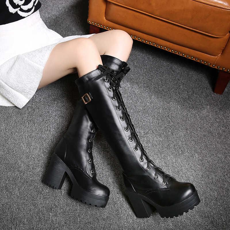 Gdgydh Hot Koop Lente Herfst Vetersluiting Knie Hoge Laarzen Vrouwen Mode Witte Vierkante Hak Vrouw Lederen Schoenen Winter Grote Maat 34-43