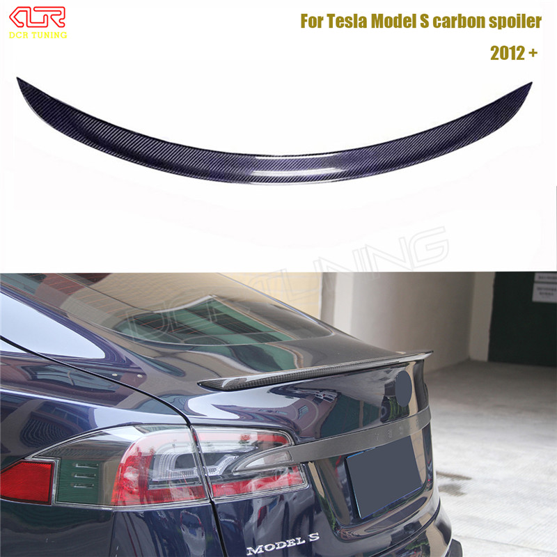 Carbon Fiber Car Rear Trunk Spoiler For Tesla Model S 4 Door Sedan Carbon Spoiler Finish Trunk boot glossy 2012 - UP 100mmx250mmx0 3mm 100% rc carbon fiber plate panel sheet 3k plain weave glossy hot