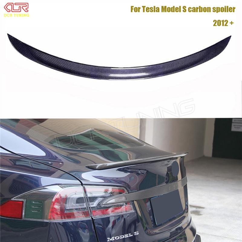 Carbon Fiber Car Rear Trunk Spoiler For Tesla Model S 4 Door Sedan Carbon Spoiler Finish Trunk boot glossy 2012 - UP c74 style w204 carbon fiber rear wing spoiler for mercedes ben w204 c200 c250 c300 c350 c63 amg 4 door sedan only 2007 2013