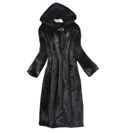 Section Taille Date Outwears Femmes Black Imitation Capuchon Vestes Noir Femelle Synthétique K835 Grande Capuche Longue À Fourrure gx8w6rqg