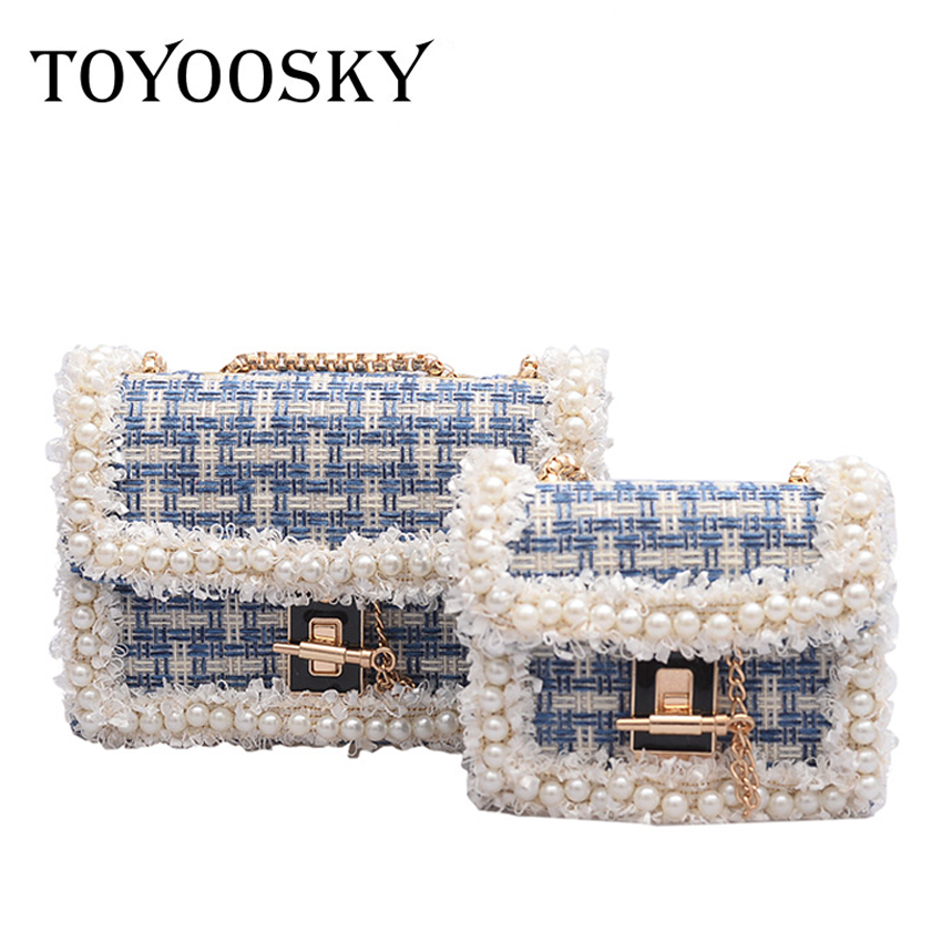 TOYOOSKY Fashion New Women 39 s Designer Handbag Woolen Women Bag Pearl Chain Shoulder Messenger Bag Simple Beading Square Bag in Shoulder Bags from Luggage amp Bags