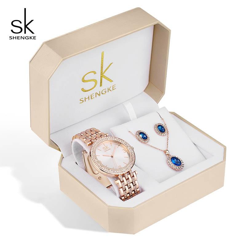 Shengke kreatywny kryształ biżuteria ustaw panie kwarcowy zegarek 2019 Reloj Mujer kobiet zegarki kolczyki naszyjnik zestaw kobiet prezent na dzień w Zegarki damskie od Zegarki na  Grupa 1