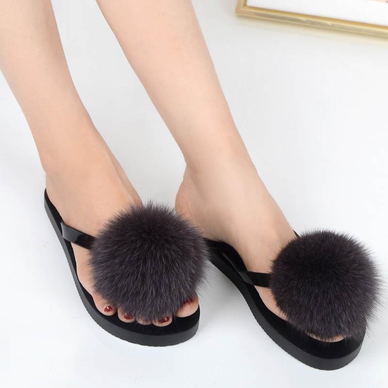 women slippers fox fur pompom (7)