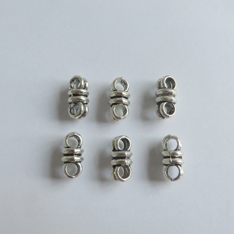 3Pcs Antiqued Silver Tone Round Flat Flower Spacer Beads Charms 14mm