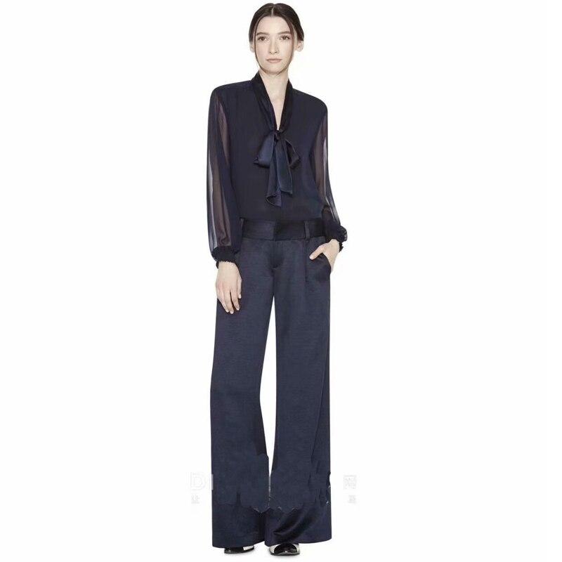 Runway Designer New Fashion High Quality Summer Party Work Sexy Chiffon Long Sleeve Shirt Loose Pants