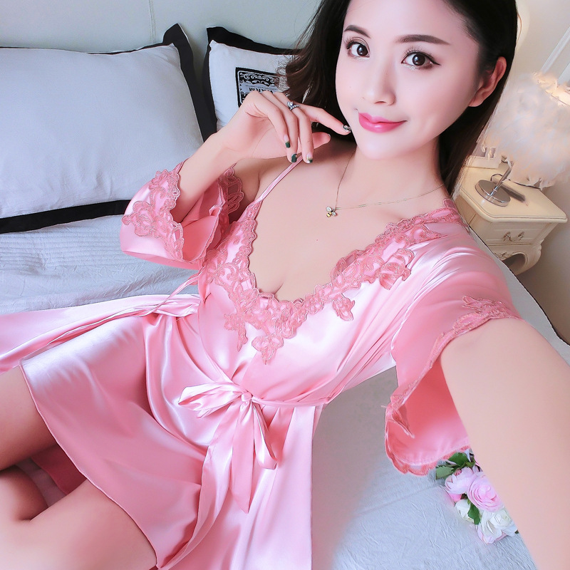 Summer Sleepwear Green Satin Nightgown Women's NightIE&Robe Set Lace Embroidery Kimono Bathrobe Gown Sexy Intimate Lingerie