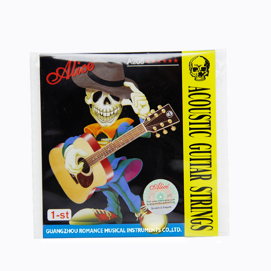 Alice acoustic Guitar strings 1-ST A206 Series .011inch(0.28mm) Steel core Proprietiary Anti-Rust Coat