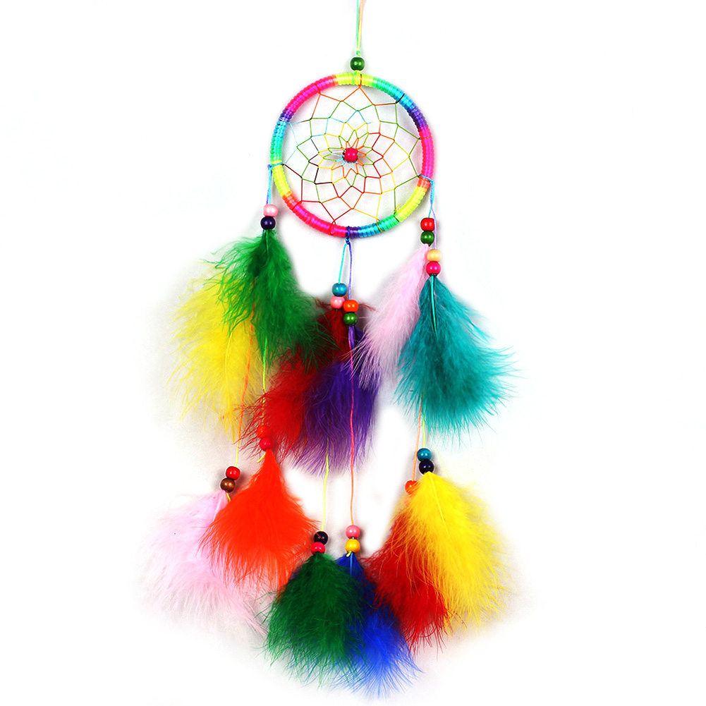 Colorful Handmade Dream Catcher Net with Feathers Wind Chimes Wall Hanging Decorations Dreamcatcher Craft Gift