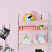 1PC Metal Wall Shelf Wall Decor Shelf Kids Room Wooden Hanging Shelf 3 Tier Wall Display Rack DIY Wall Decoration Holder