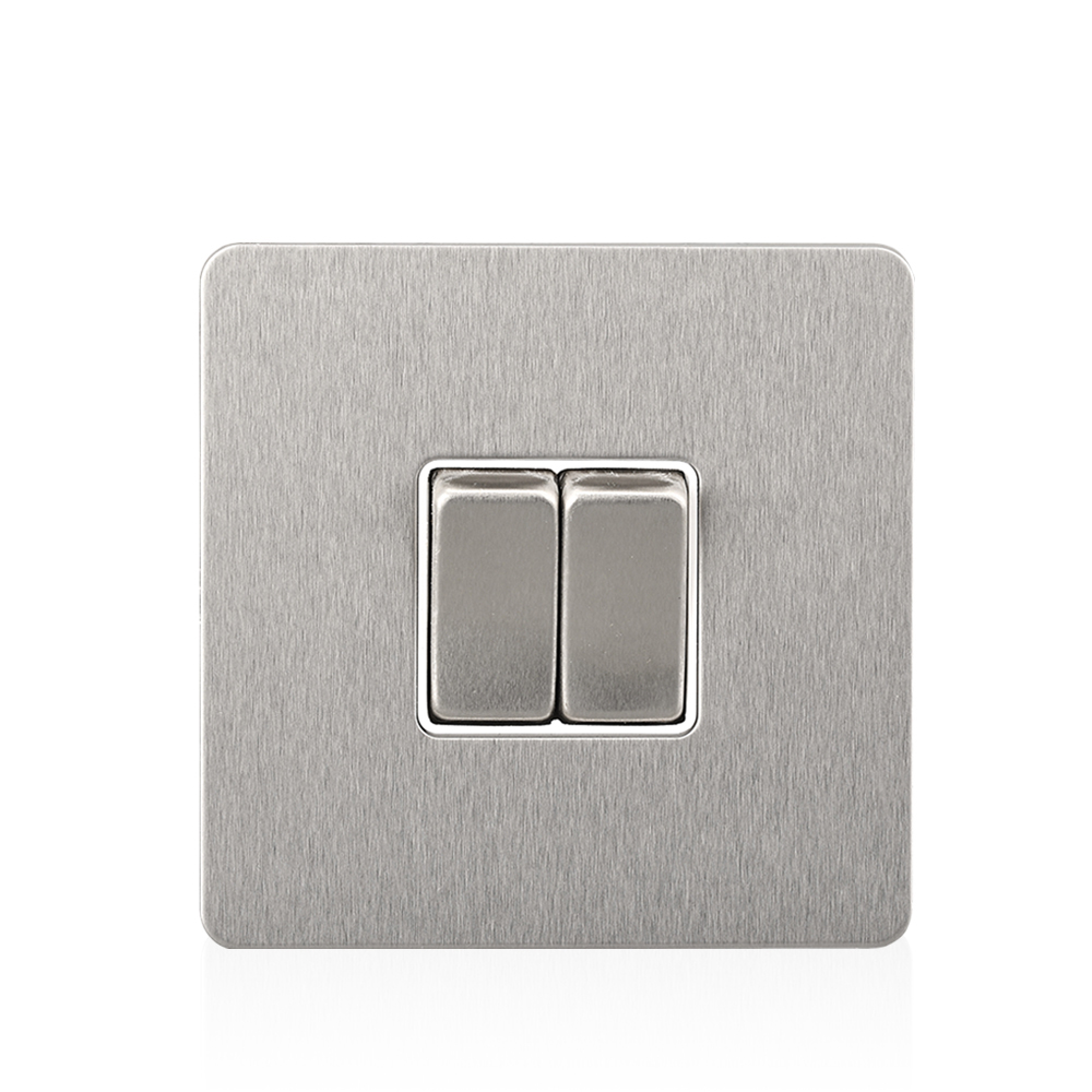 Silver Stainless Steel Panel Electrical Switch 86 type Wall 1 GANG/ 2 3 GANG