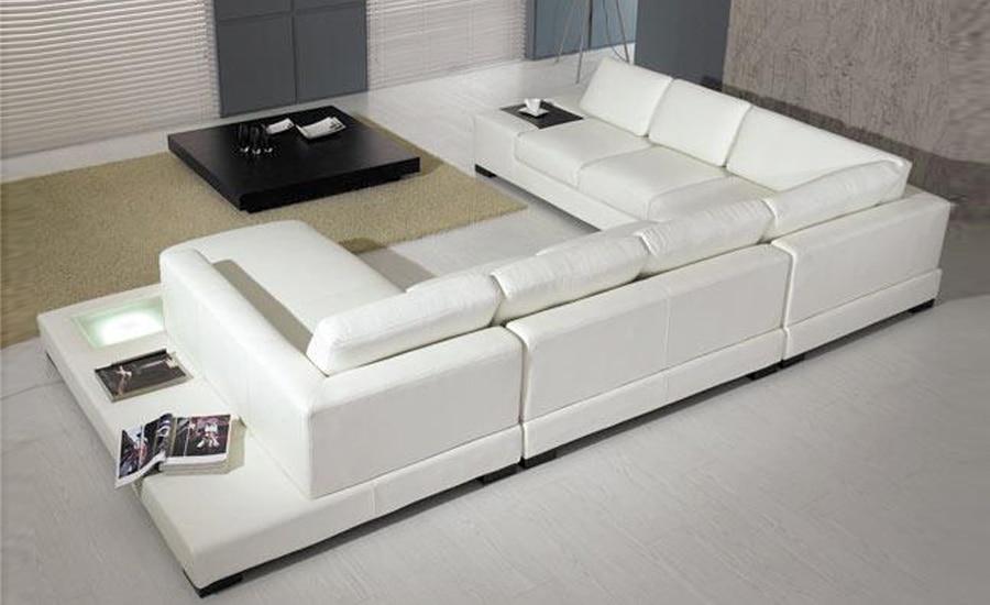 Europeiska laest designer soffa Stor storlek U-formad vit lädersoffa - Möbel - Foto 2