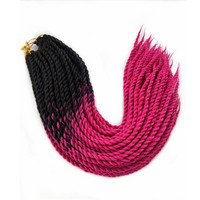 Pervado Hair Synthetic Ghana Senegalese Twist Braiding Hair Extensions 24 Dark Grey Brown Rose Pink Ombre